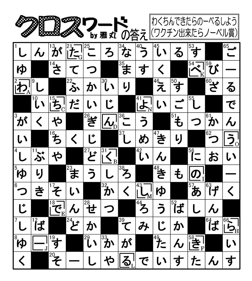 ワード 答え クロス パズル